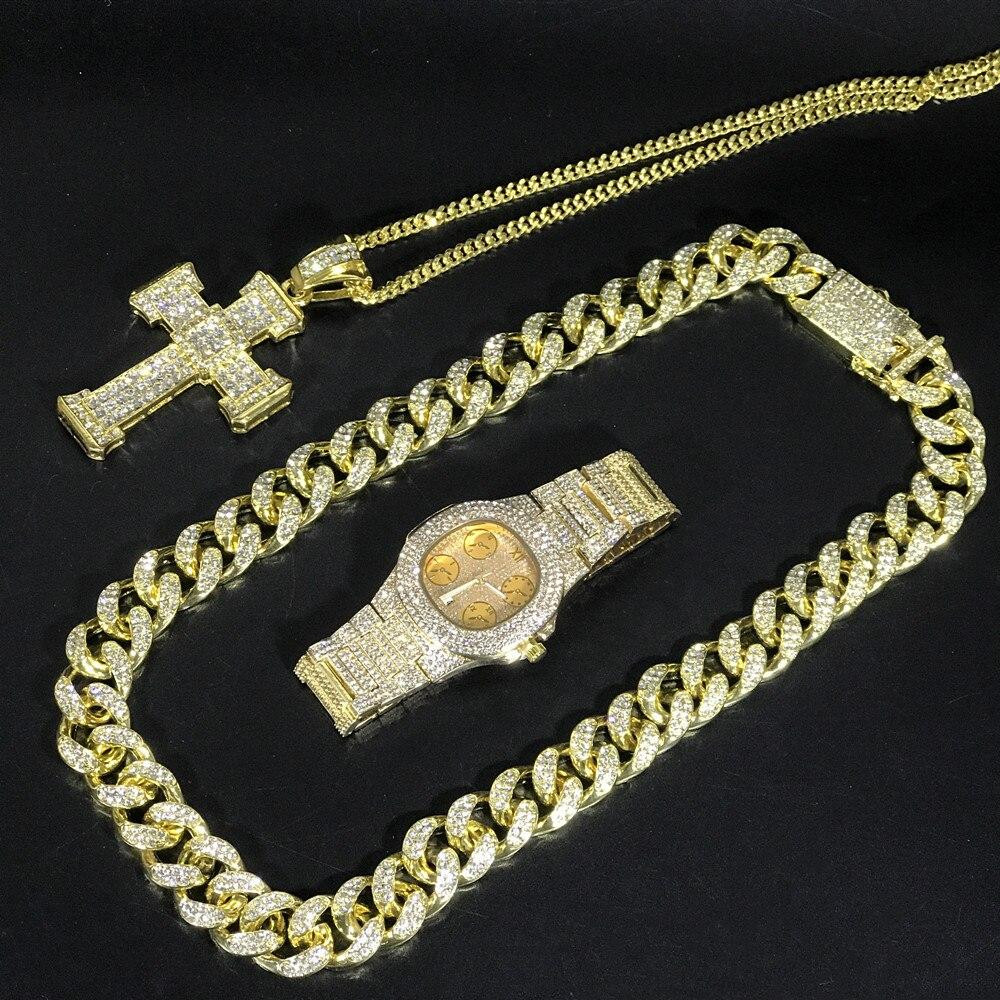 2CM Hip Hop or couleur cristal collier Miami glace sur montre cubaine chaîne en or hommes montre et collier Combo Hip Hop bijoux pour hommes