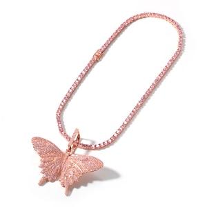 Image 5 - Uwin Monarch Butterfly różowy Rosegold CZ wisiorek z 9mm 12mm CZ kubański łańcuch Micro Pave Cubic naszyjnik cyrkoniowy biżuteria na prezent