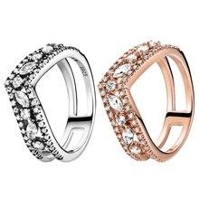 2021 novo 925 anéis de prata esterlina espumante marquesa duplo wishbone anel de noivado feminino aniversário original jóias fazendo
