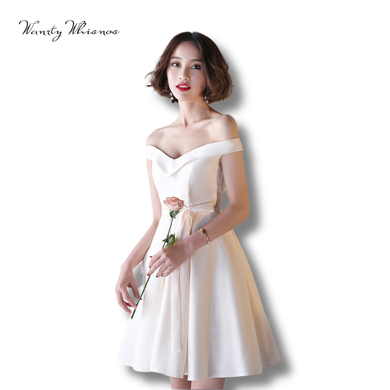 Sexy Cocktail Dresses 6 Styles Sleevless Champagne Satin Short Prom Dresses 2020 Medium School Graduation Party Dresses
