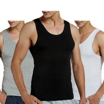 2 Pçs/lote Regatas Homens Modal trecho completo Sólida Colete Masculino Undershirt Respirável Sem Costura Topos Magro Ocasional Preto (2-pack)