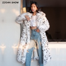 HIGH QUALITY Winter White Hairy Shaggy Faux Fox Fur Leopard Coat Long sleeve Furry Women Knee length Jacket Trench Outerwear
