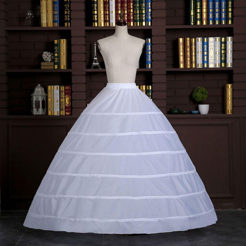 Wedding Dress Skirt Support Costume Petticoat Slip Large 6-Hoops Yarnless Petticoats for Bride Women