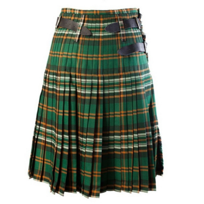 DIHOPE Scottish Mens Kilt Traditional Plaid Belt Pleated Bilateral Chain Brown Gothic Punk Scottish Tartan Trousers Skirts