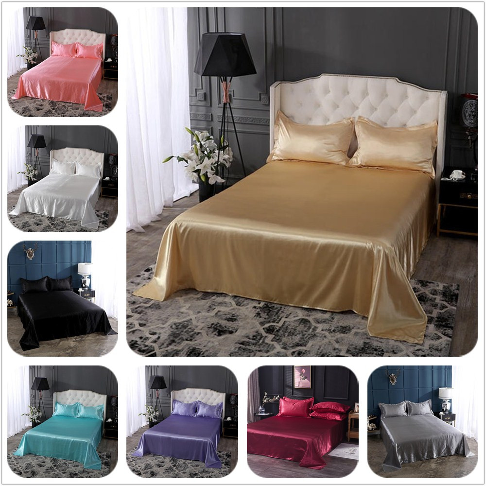 18 colors luxury satin silk flat bed sheet set single queen size king size bedspread cover
