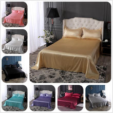18 colors luxury satin silk flat bed sheet set single queen size king size bedspread cover linen sheets double full double sexy