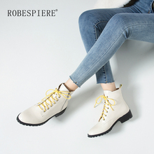 ROBESPIERE New Round Toe Snow Boots For Women Lace Up Zipper Genuine Leather Shoes Platform Winter Warm Plush Ankle Boots B81