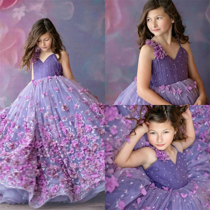 Cute Lanvender Flower Girl Dresses Spaghetti Lace 3D Floral Appliqued Girls Pageant Dress Custom Made Girls Birthday Gowns