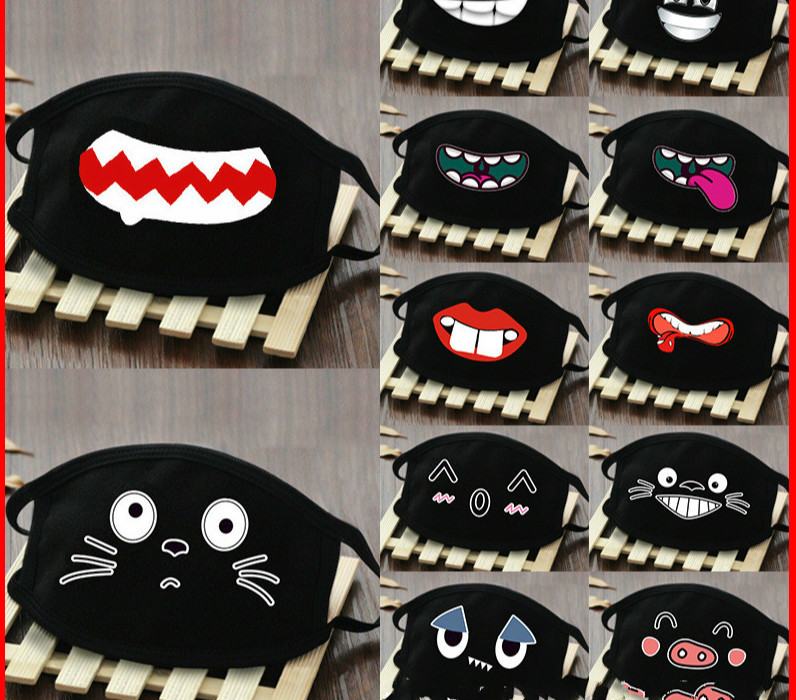 Funny Teeth  Pm2.5 Anti-haze Mouth Mask Breathable 100% Cotton Fashion Black Riding Dust Cold Thickening Mouth Mask