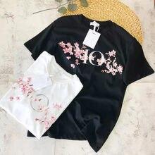 2021 primavera/verão novo sakura padrão 100% algodão camiseta casal casual moda topo masculina e feminina manga curta