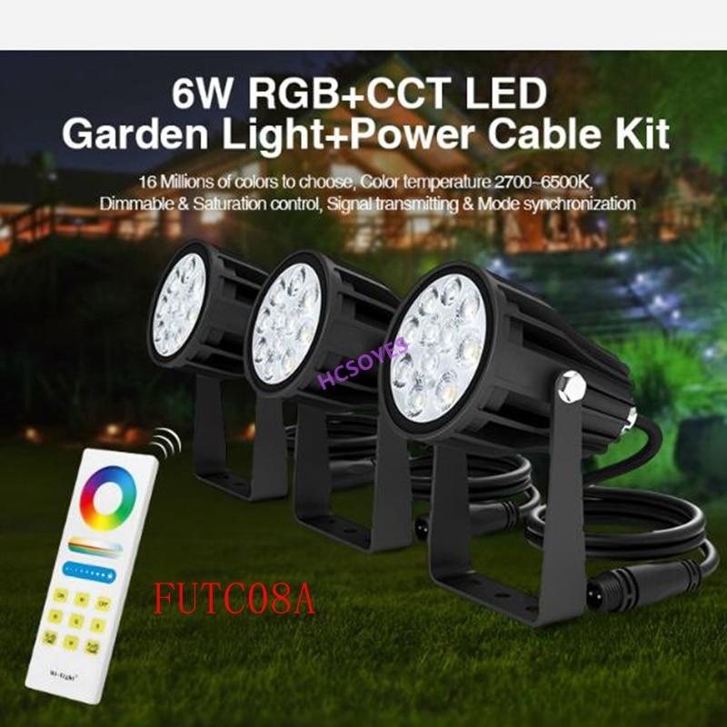 Miboxer FUTC08A 6W RGB+CCT LED Garden Light+DC24V 65W led Power Supply +Cable connector+FUT088 2.4G wireless Remote control