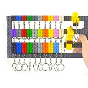 Chaveiro blocos de construção cor aleatória chaveiro pendurado anel acessórios kits tijolo criativo compatível todos os tipos brinquedos para crianças