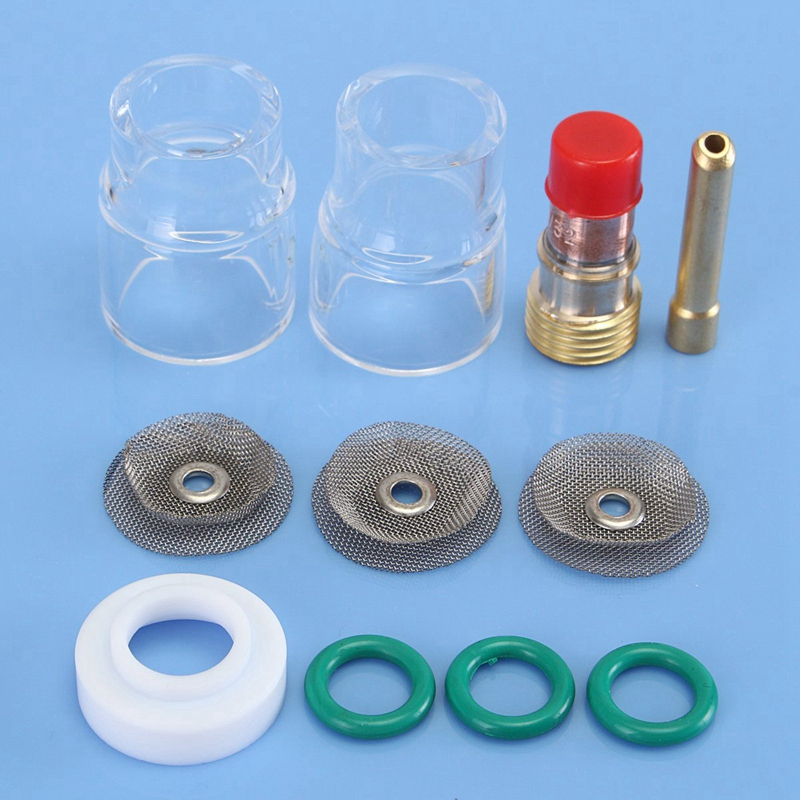 11Pcs Wig-schweißbrenner Stubby Gas Objektiv Pyrex Tasse Zubehör Kit Werkzeuge Für Wp-17/18/26 Fackeln gas Objektiv 3/32 Inch Schweiß Worki