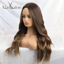ALAN EATON Long Synthetic Wigs Ombre Brown Blonde Middle Part