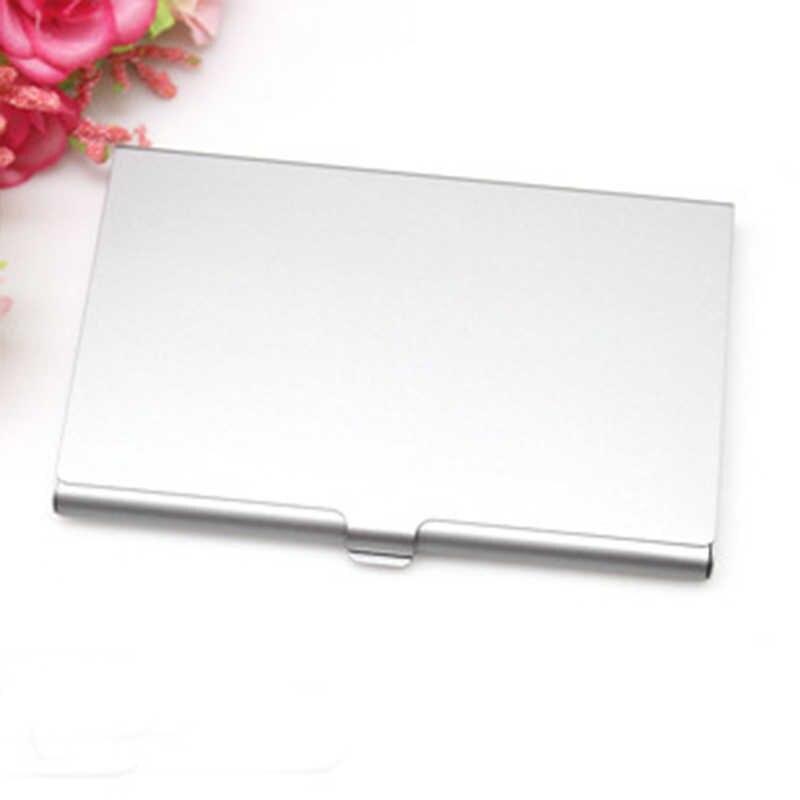 Funda de tarjeta de negocios Casual creativa de acero inoxidable con soporte de aluminio cubierta de caja de Metal para hombres de crédito tarjetero de Metal