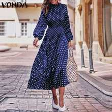 2019 Autumn Dress VONDA Dot Printed Vintage Overalls Summer Dress Beach Vestidos Womens Evening Party Robe Femme Sexy Sundress(China)