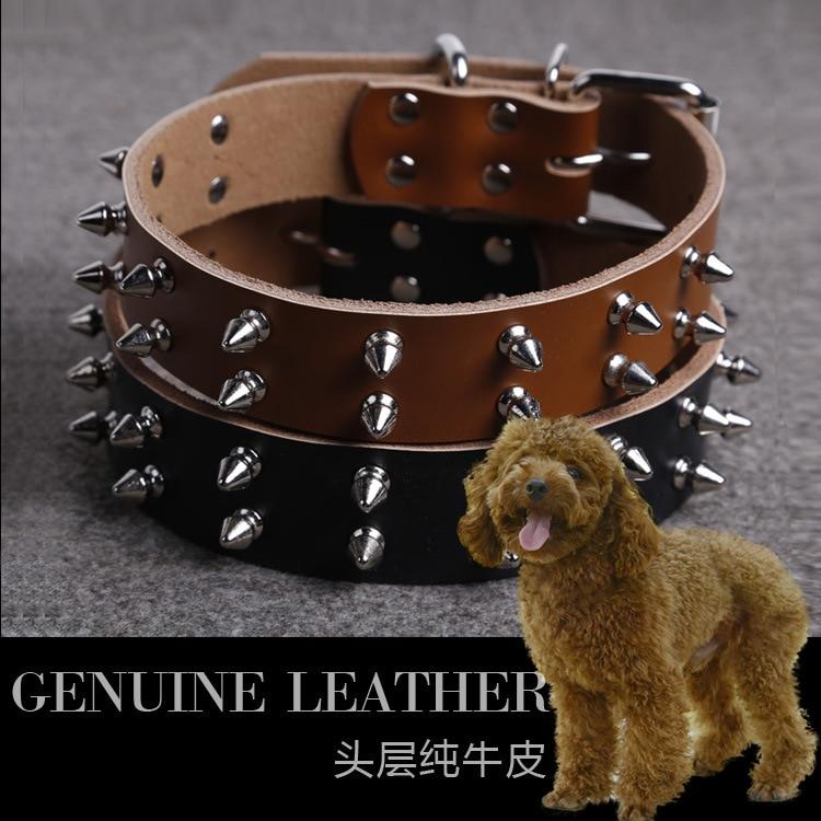 Pet Supplies Pure Leather Pet Collar Bullet Headdress Pet Traction Genuine Leather Bandana Big Dog Neck Ring