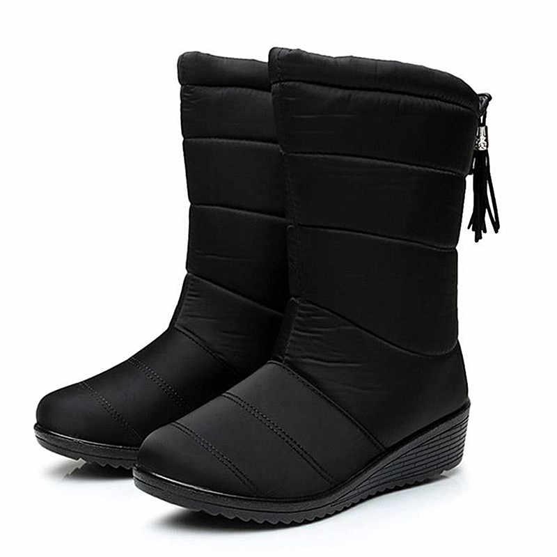 Botas de mujer botas de media pantorrilla para mujer botas de invierno flecos botas de nieve zapatos de mujer botas impermeables de invierno zapatos de cuña