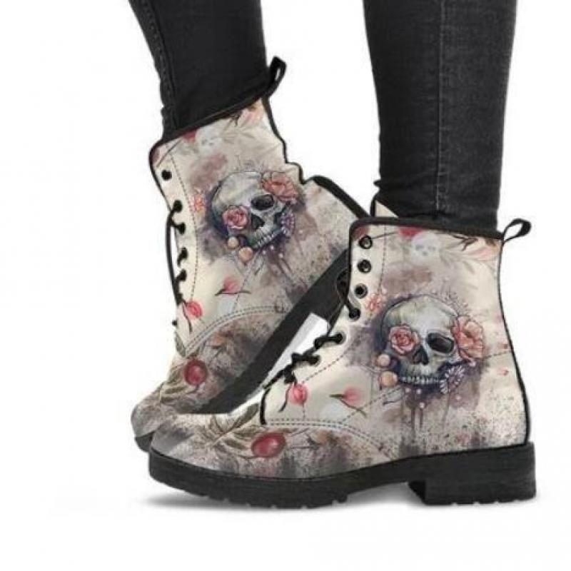 Women Ankle Boots Low Heels Shoes Woman Vintage Pu Leather Autumn Warm Winter high Snow Boots Motorcycle Skull Pansy