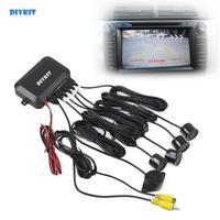 DIYKIT Автомобильный Обратный Видео парковочный радар 4 датчика заднего вида резервная система безопасности звуковой сигнал тревога для каме...