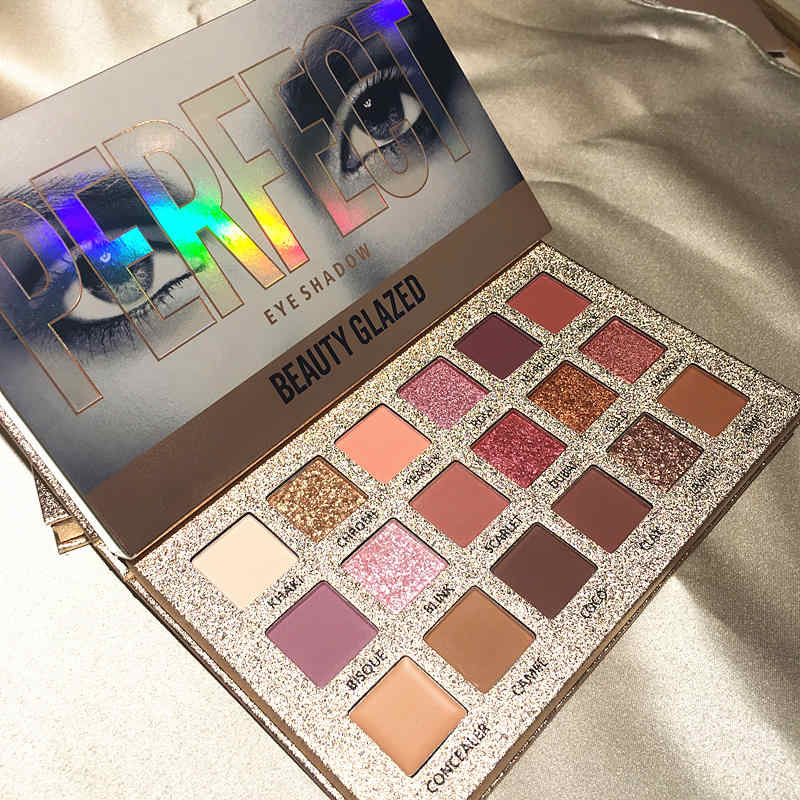 Beauty Glazed 18 Color Glitter Matte Eyeshadow Palette Makeup Glitter Pigment Smoky Eyeshadow Palette Waterproof Cosmetics TSLM2