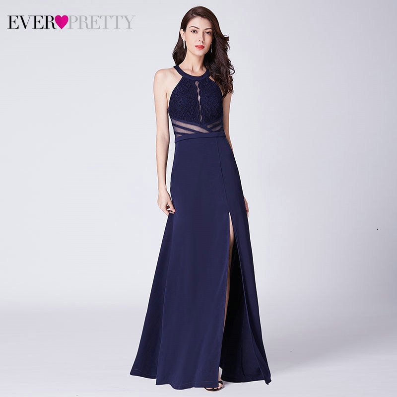 Sexy Lace Evening Dresses Long Ever Pretty EP07390NB A-Line Halter Sleeveless Side Split Elegant Evening Gowns Długa Sukienka