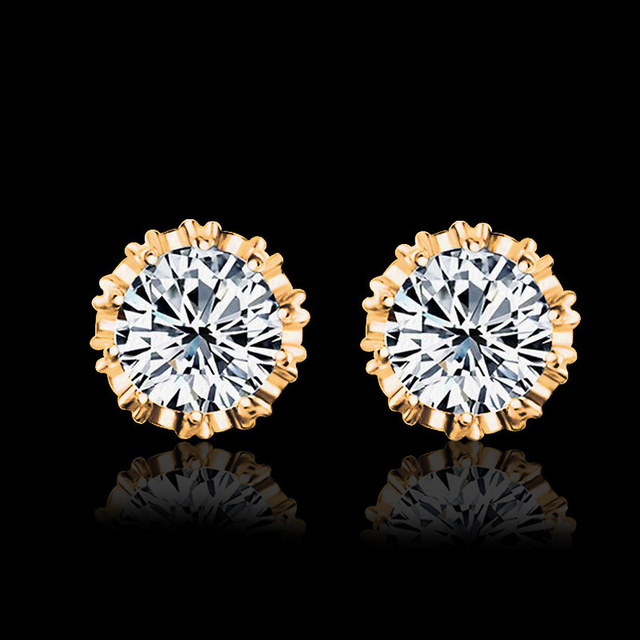 Carat Cubic Zirconia Silver-Color Stud Earrings