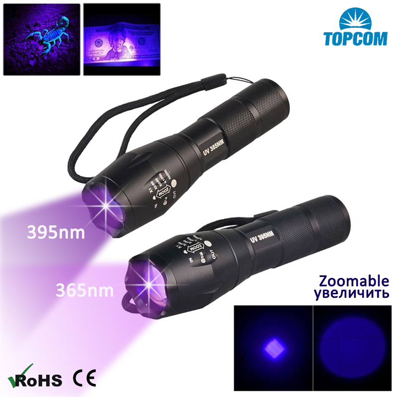 Topcom 3W Zoomable UV Light 365nm 395nm LED UV Flashlight New Military Grade Tactical Ultraviolet Flashlight Lantern 18650 Torch
