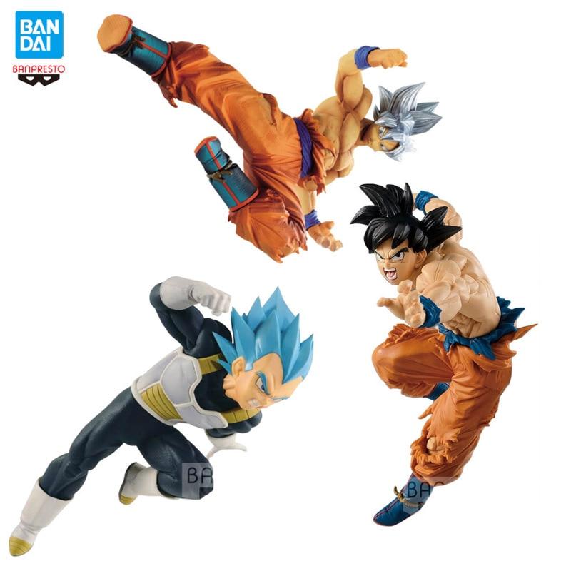 Original Bandai 17CM Dragon Ball action figure Sun Wukong Super Three Super Four Self Essence Super Blue Model Toy for children