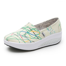 Women's Flat Canvas Shoes Sport Outdoor Female Toning Sneakers Lightweight Ladies Walking Wedges Thick Sole Trainer