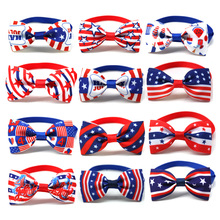 100pcs Puppy Dog Bow Tie American Independence Days Dog Cat Bowties 4th of July US Flag Dog Grooming Accessories For Small Dogs