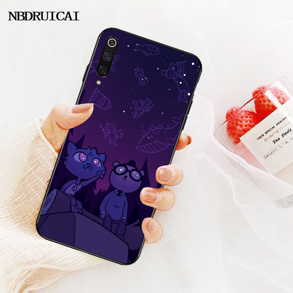NBDRUICAI noche en el bosque cubierta de animales negro suave funda del teléfono carcasa para Redmi Note 8 8A 7 6 6A 5 5A 4 4X 4A Go Pro Plus Prime