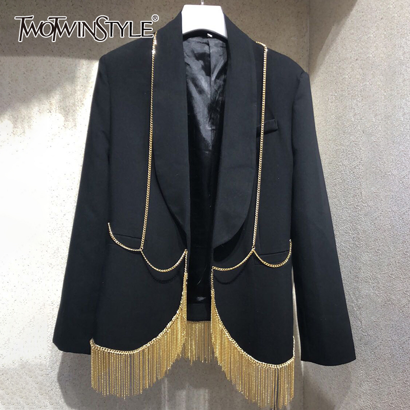 TWOTWINSTYLE Casual Patchwork Tassel Women Blazer Notched Long Sleeve Loose Hit Color Suit Female Clothing Fashion Clothing Tide