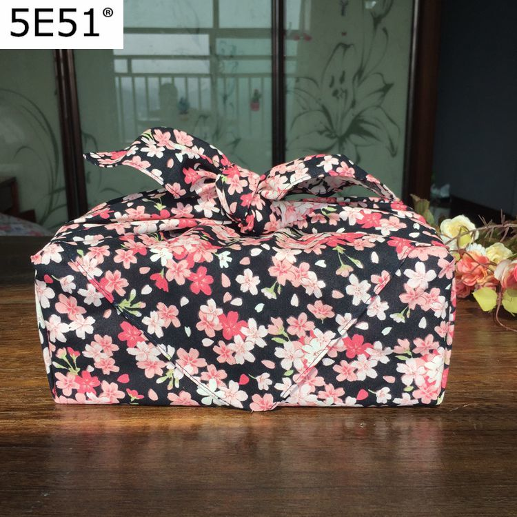 Japanese Style Handkerchief Pink Black Cherry Blossom Japan Furoshiki Bento Wrapping Cloth Kerchief Tablecloth Placemat