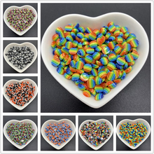 50pcs Lot 6mm Resin Half Round Beads Stripe Beads Flat Back Scrapbook Beads For Jewelry Making DIY Phone Case Scrapbook cheap LXBENING Other Round Shape