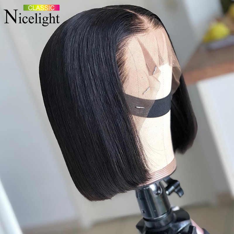 Nicelight Hair Bob Lace Front Wigs 150%/180% Density 13x4 Human Hair Wigs Malaysian Remy Straight Wig For Black Women
