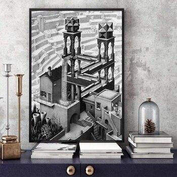 Cartel en lienzo de Arte de cascada M C Escher, decoración para la pared del hogar (sin marco)