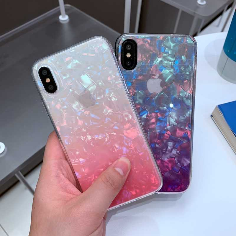 Degrade Taş Mermer Gökkuşağı Desen Yumuşak Silikon TPU Şeffaf Kılıf Kapak iPhone 6 6s 7 8 Artı 10 X XS XR 11 Pro Max Coque