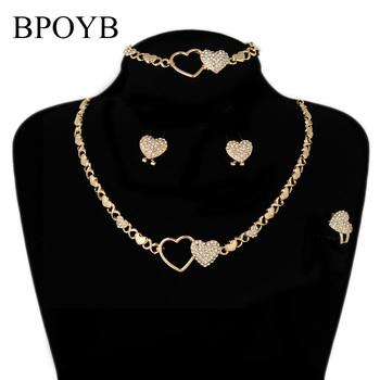 BPOYB gorąca sprzedaż śliczne Xoxo podwójne serce arabskie akcesoria oryginalny zestaw biżuterii kolor spadek hurtowych tanie i dobre opinie Ze stopu cynku CN (pochodzenie) Kobiety Metal TRENDY Earrings Necklace Bracelet Ring Naszyjnik kolczyki pierścień bransoletka