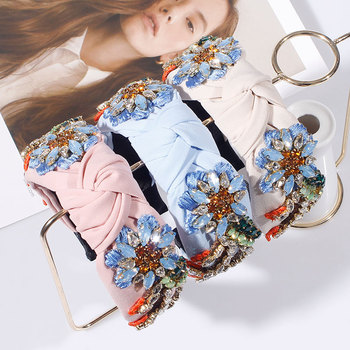 Embroidery Flower Crystal Rhinestone Top Knotted Hairbands 1
