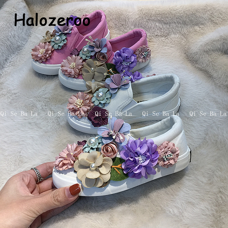 New Autumn Kids Casual Sneakers Baby Girls Flower Canvas Shoes Children Slip On Sport Sneakers Toddler Brand Sneakers Trainers