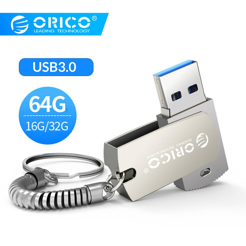 ORICO 64GB 32GB 16GB U-disk USB Flash Drive USB3.0 Type A Interface Flash Disk With Key Ring Support For Mobile Phone Computer
