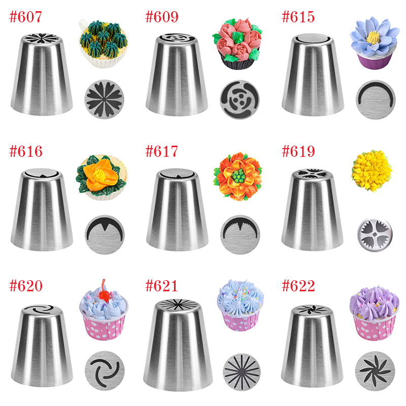 4YANG 27 Style Russian Tulip Icing Piping Nozzles Stainless Steel Flower Cream Pastry Tips Nozzles Cupcake Cake Decorating Tools