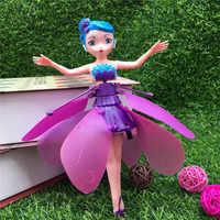 UFO Inductive Flying USB Charging Little Fairy Flying Sensor Beautiful Girl Toy Kid Indoor Glowing Toy To Send Girl Baby Gift