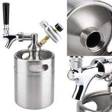 Stainless Steel Mini Beer Keg Growler with Adjustable Tap Faucet and CO2 Injector for Beer,Soda,Wine