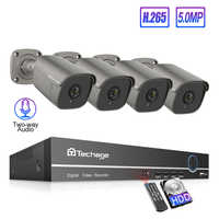 Techage 4CH 5MP POE AI Camera NVR System H.265 Two-way Audio Record IP Camera Outdoor CCTV Video Security Surveillance Kit