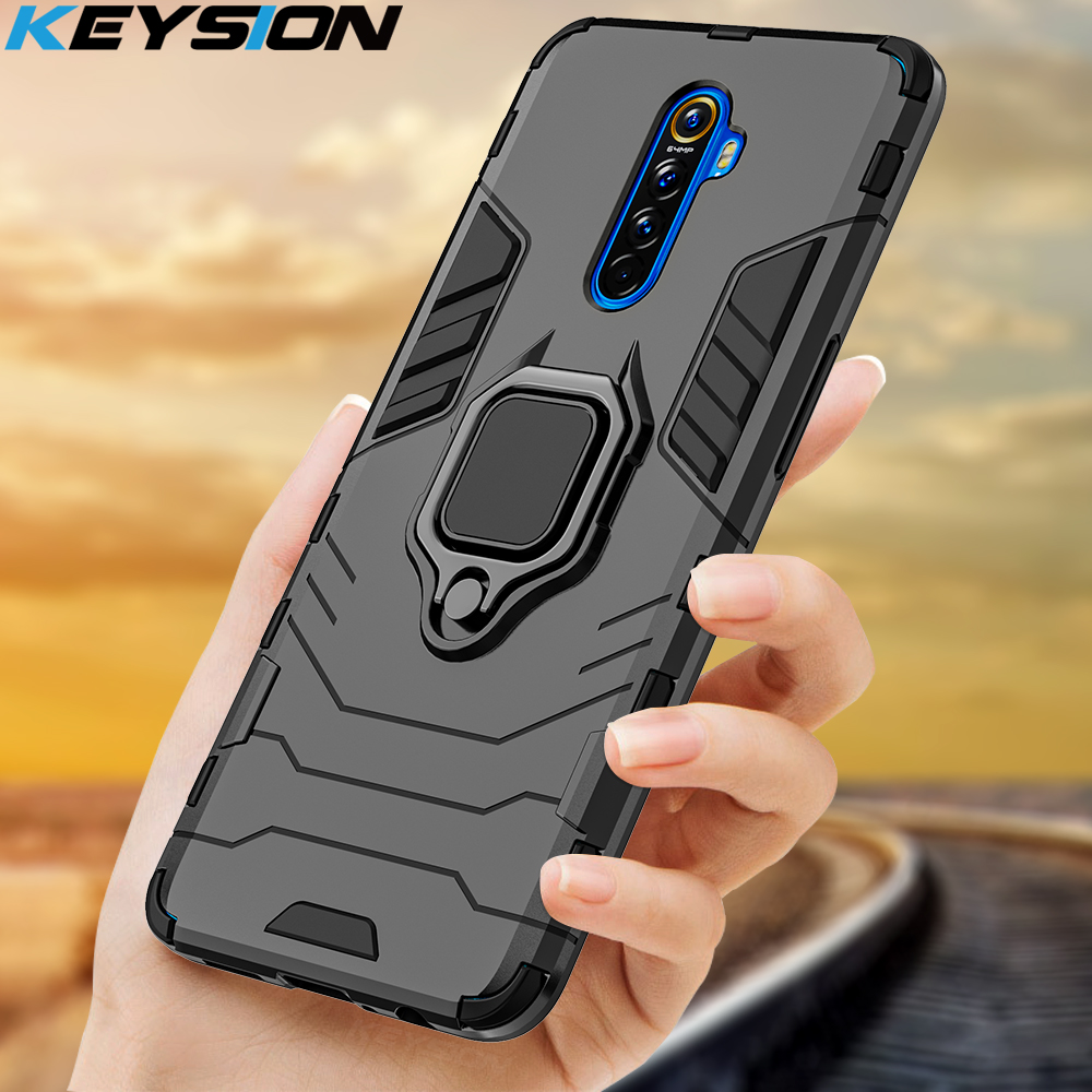 KEYSION Shockproof Armor Case for Realme X2 <font><b>Pro</b></font> XT 5 <font><b>Pro</b></font> 3 C2 <font><b>Phone</b></font> Back Cover for <font><b>OPPO</b></font> <font><b>F11</b></font> <font><b>Pro</b></font> A9 A5 2020 Reno 2 Reno Z K1 A1K image