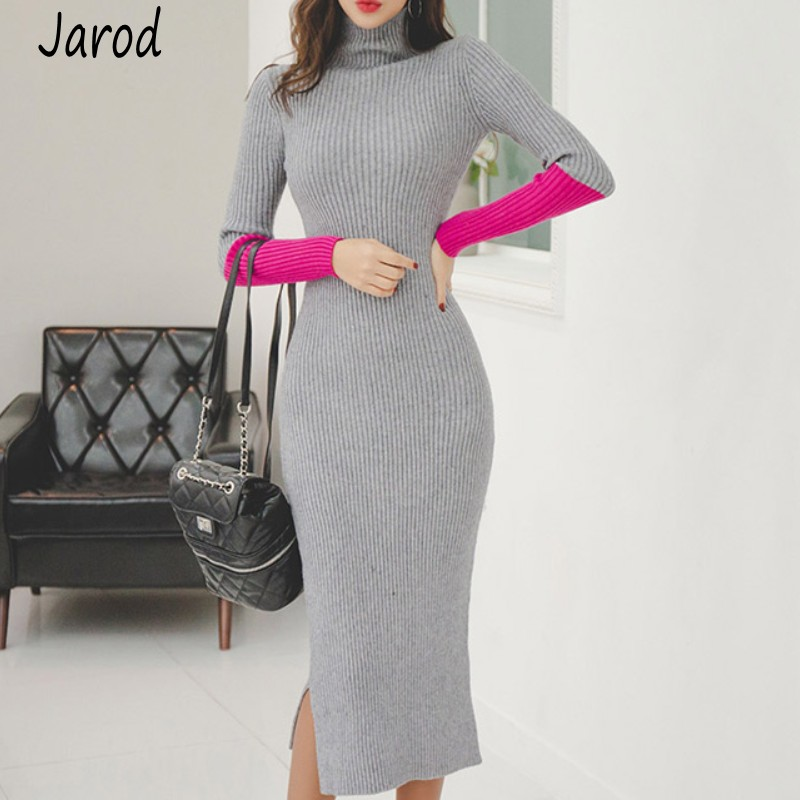 Autumn winter <font><b>Sexy</b></font> Party Patchwork <font><b>Hit</b></font> Color Dress Women Knitted Sweater Dress Slim Turtleneck Bodycon sheath Dress Vestidos image
