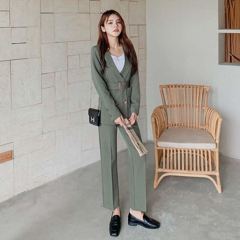 Work Pant Suits Ol 2 Two Piece Set Women Business With Belt Suit Set Uniform Slim Blazer And Pencil Pant Office Lady Suit