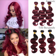 DreamDiana Ombre Brazilian Hair Body Wave 3 Burgundy Bundles Ombre 99J Human Hair Weave Bundles Remy Ombre Hair Extension M(China)